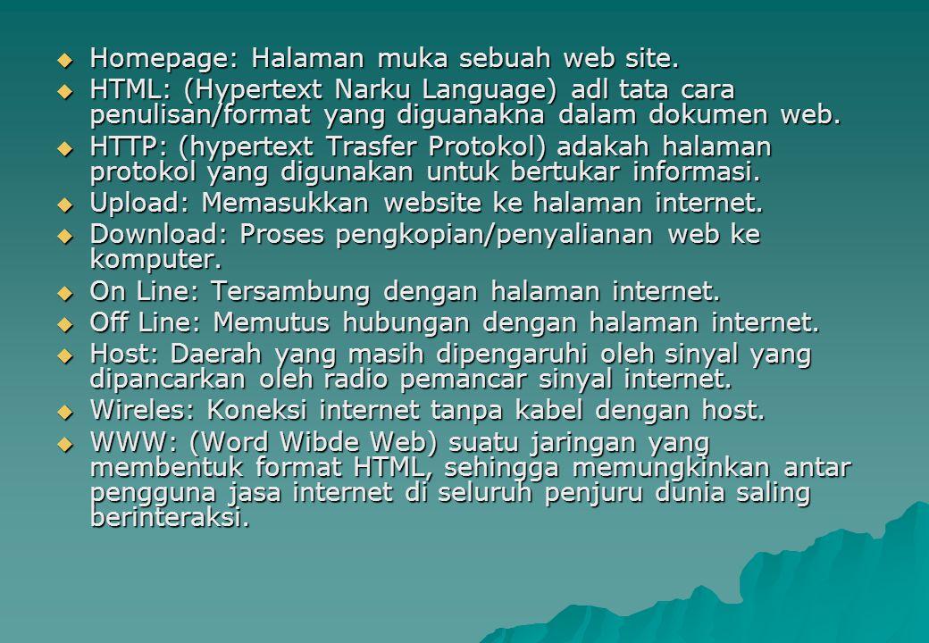  Homepage: Halaman muka sebuah web site.  HTML: (Hypertext Narku Language) adl tata cara penulisan/format yang diguanakna dalam dokumen web.  HTTP: