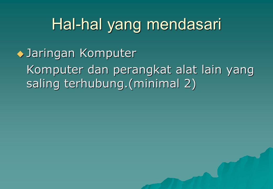 Hal-hal yang mendasari JJJJaringan Komputer Komputer dan perangkat alat lain yang saling terhubung.(minimal 2)