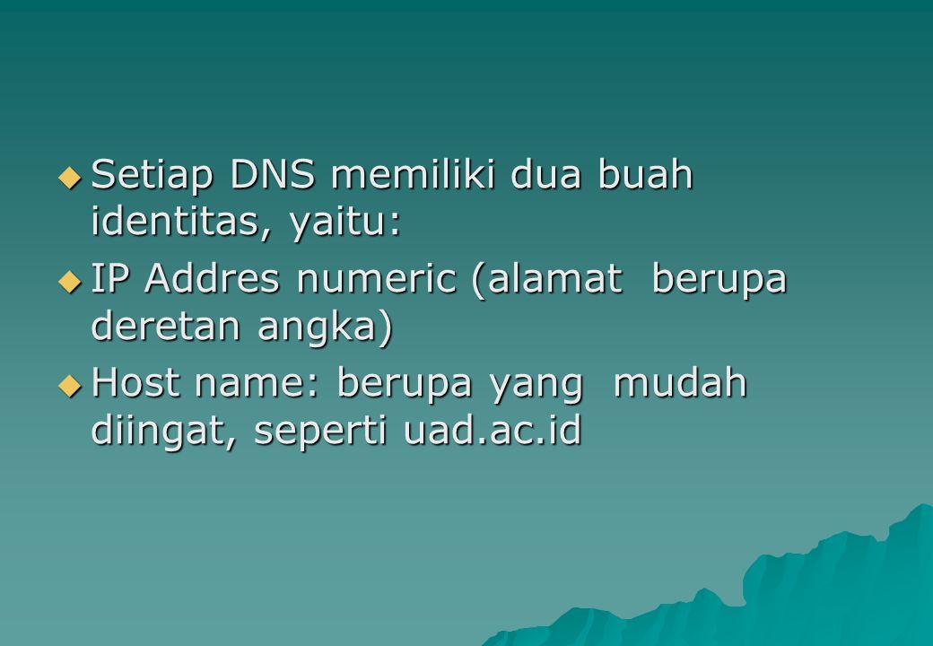  Setiap DNS memiliki dua buah identitas, yaitu:  IP Addres numeric (alamat berupa deretan angka)  Host name: berupa yang mudah diingat, seperti uad
