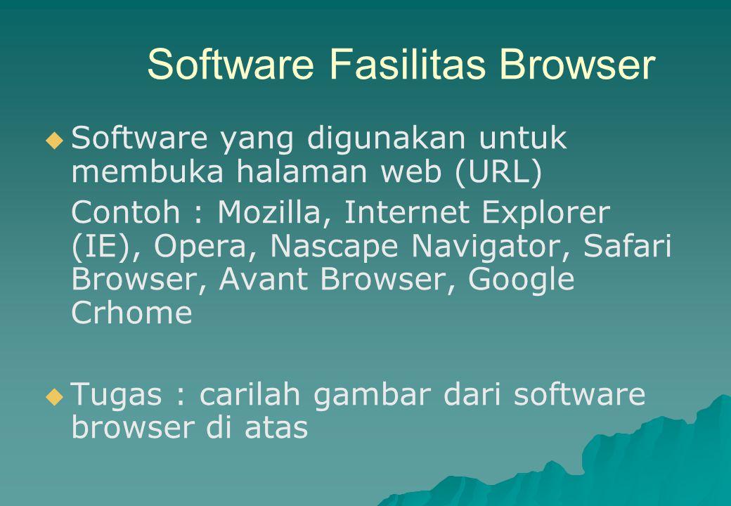 Software Fasilitas Browser   Software yang digunakan untuk membuka halaman web (URL) Contoh : Mozilla, Internet Explorer (IE), Opera, Nascape Naviga