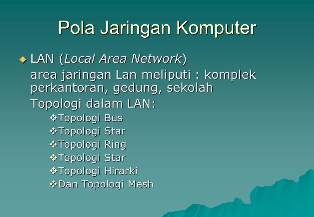 Pola Jaringan Komputer  LAN (Local Area Network) area jaringan Lan meliputi : komplek perkantoran, gedung, sekolah Topologi dalam LAN:  Topologi Bus