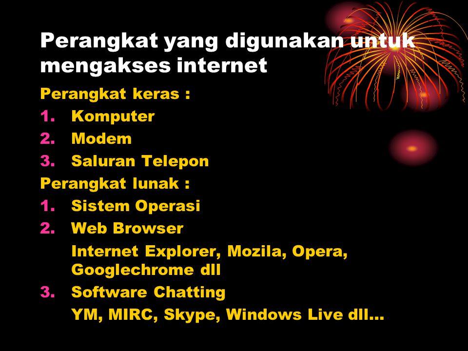 Perangkat yang digunakan untuk mengakses internet Perangkat keras : 1.Komputer 2.Modem 3.Saluran Telepon Perangkat lunak : 1.Sistem Operasi 2.Web Brow