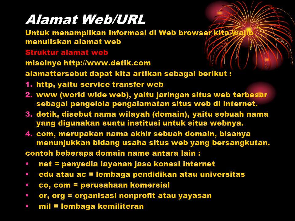 Alamat Web/URL Untuk menampilkan Informasi di Web browser kita wajib menuliskan alamat web Struktur alamat web misalnya http://www.detik.com alamatter