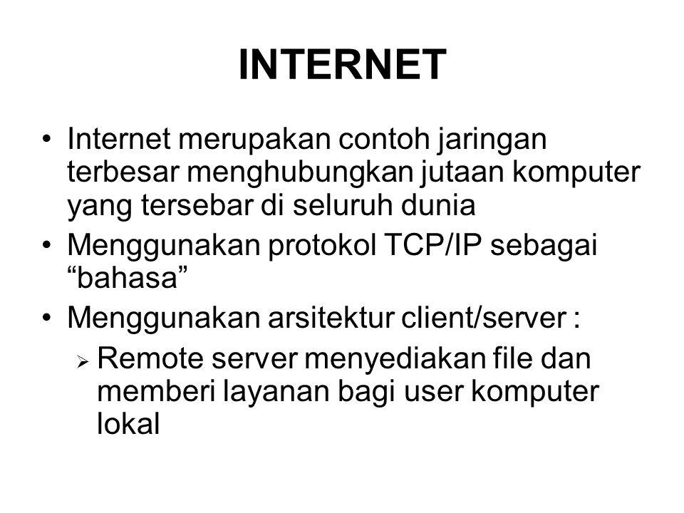 INTERNET •Internet merupakan contoh jaringan terbesar menghubungkan jutaan komputer yang tersebar di seluruh dunia •Menggunakan protokol TCP/IP sebagai bahasa •Menggunakan arsitektur client/server :  Remote server menyediakan file dan memberi layanan bagi user komputer lokal