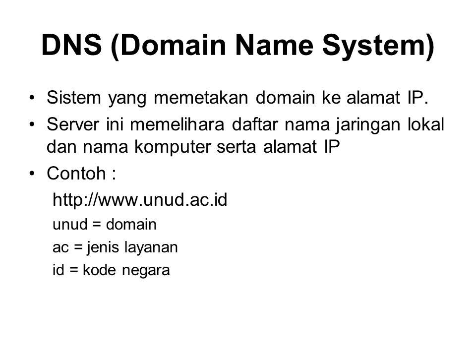 DNS (Domain Name System) •Sistem yang memetakan domain ke alamat IP. •Server ini memelihara daftar nama jaringan lokal dan nama komputer serta alamat