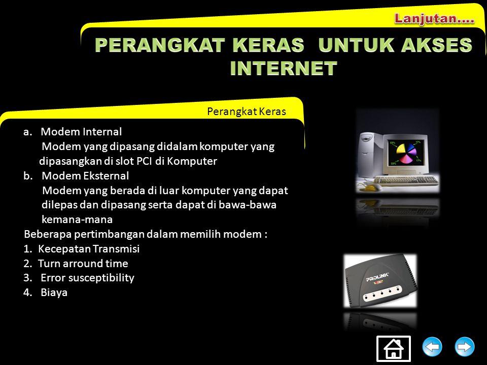 Perangkat Keras Dari sisi peralatan, konfigurasi sambungan internet adalah sebagai berikut : 1.Komputer a.Processor Minimal Pentium III 500 Mhz b.RAM