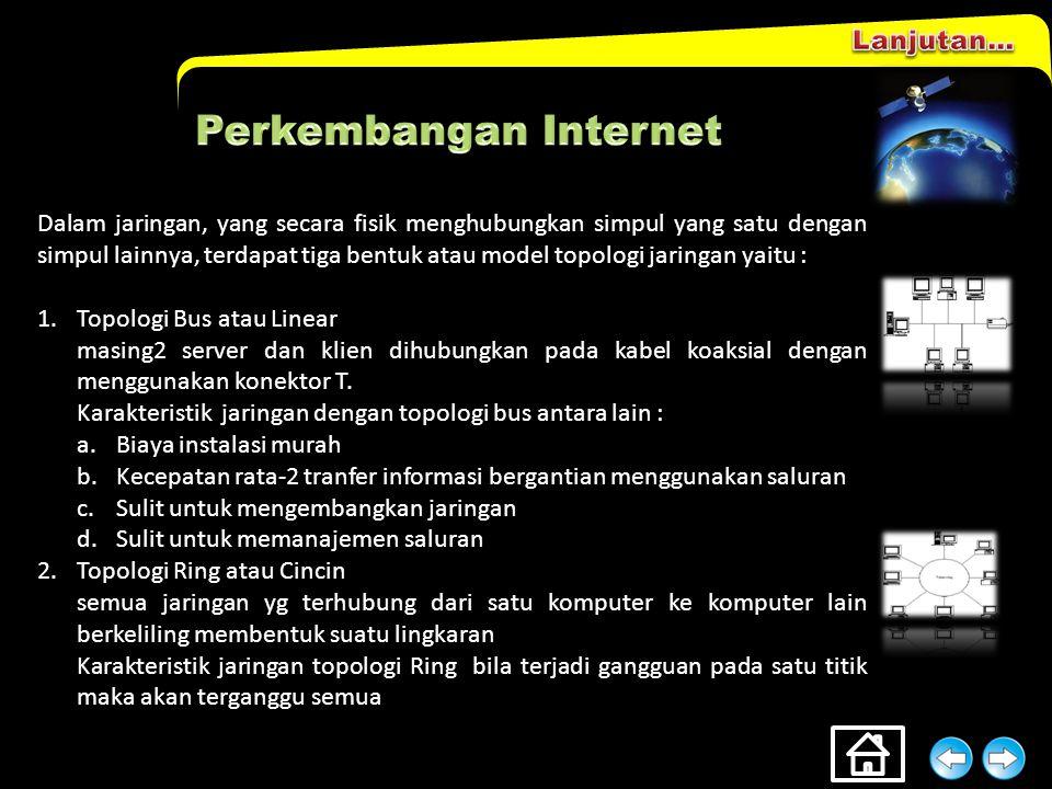 Perkembangan Internet tidak lepas dari perkembangan jaringan komputer. Dilihat dari luas jaringan yang dibentuk, maka jaringan dibedakan menjadi 2 : 1