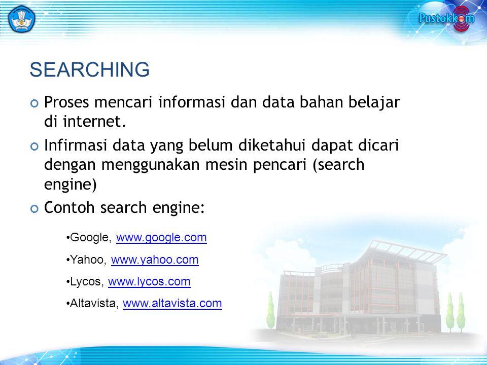 Proses mencari informasi dan data bahan belajar di internet. Infirmasi data yang belum diketahui dapat dicari dengan menggunakan mesin pencari (search