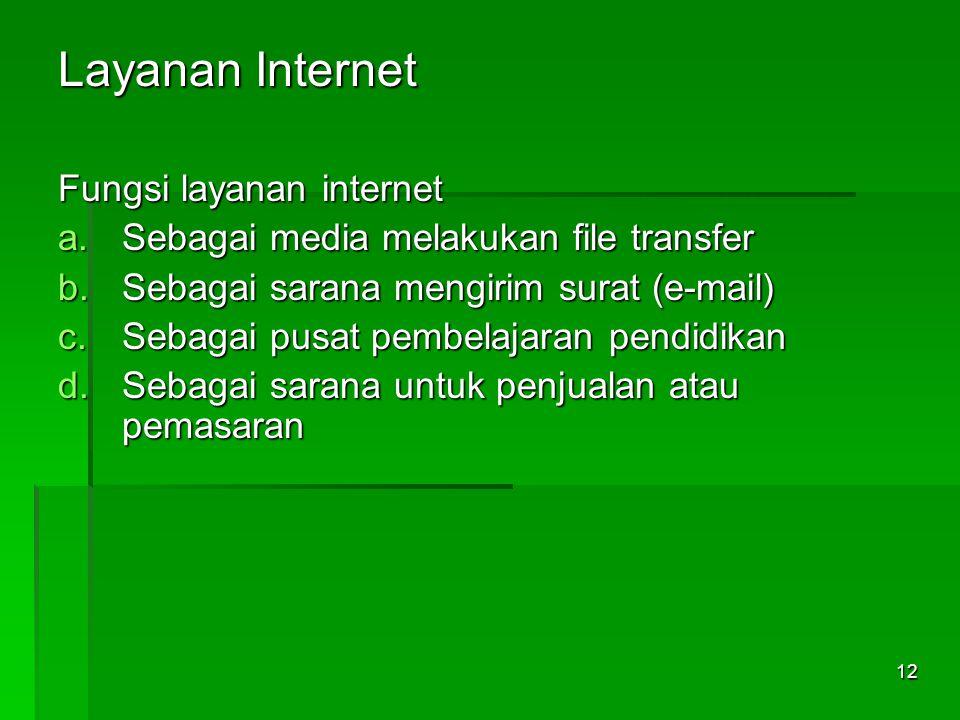 Layanan Internet Fungsi layanan internet a.Sebagai media melakukan file transfer b.Sebagai sarana mengirim surat (e-mail) c.Sebagai pusat pembelajaran
