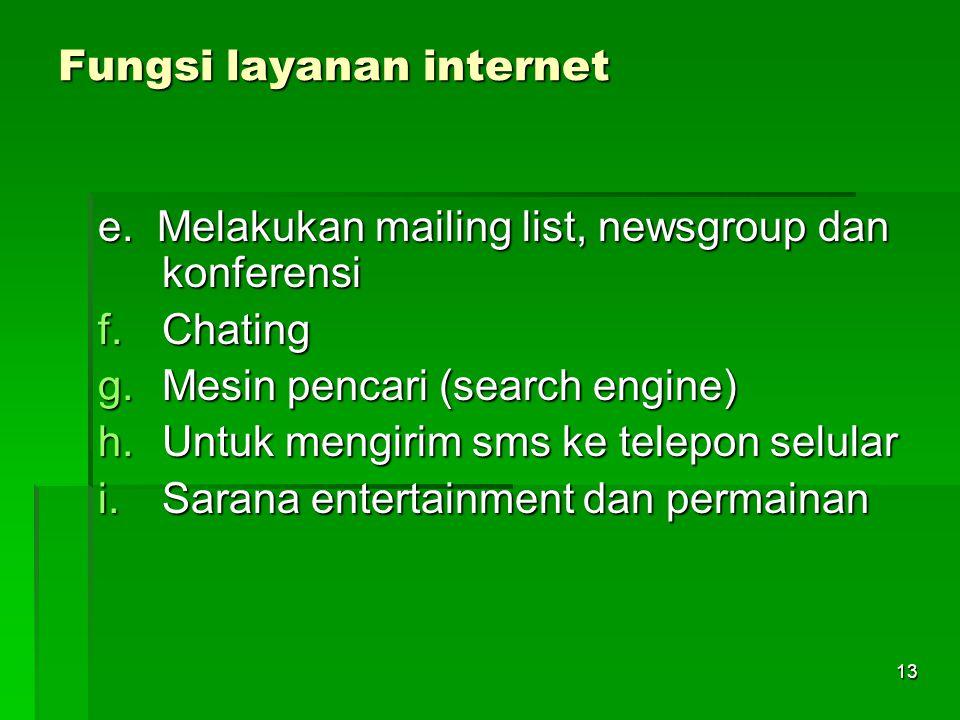 Fungsi layanan internet e. Melakukan mailing list, newsgroup dan konferensi f.Chating g.Mesin pencari (search engine) h.Untuk mengirim sms ke telepon