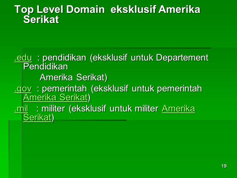 Top Level Domain eksklusif Amerika Serikat.edu.edu : pendidikan (eksklusif untuk Departement Pendidikan.edu Amerika Serikat) Amerika Serikat).gov.gov