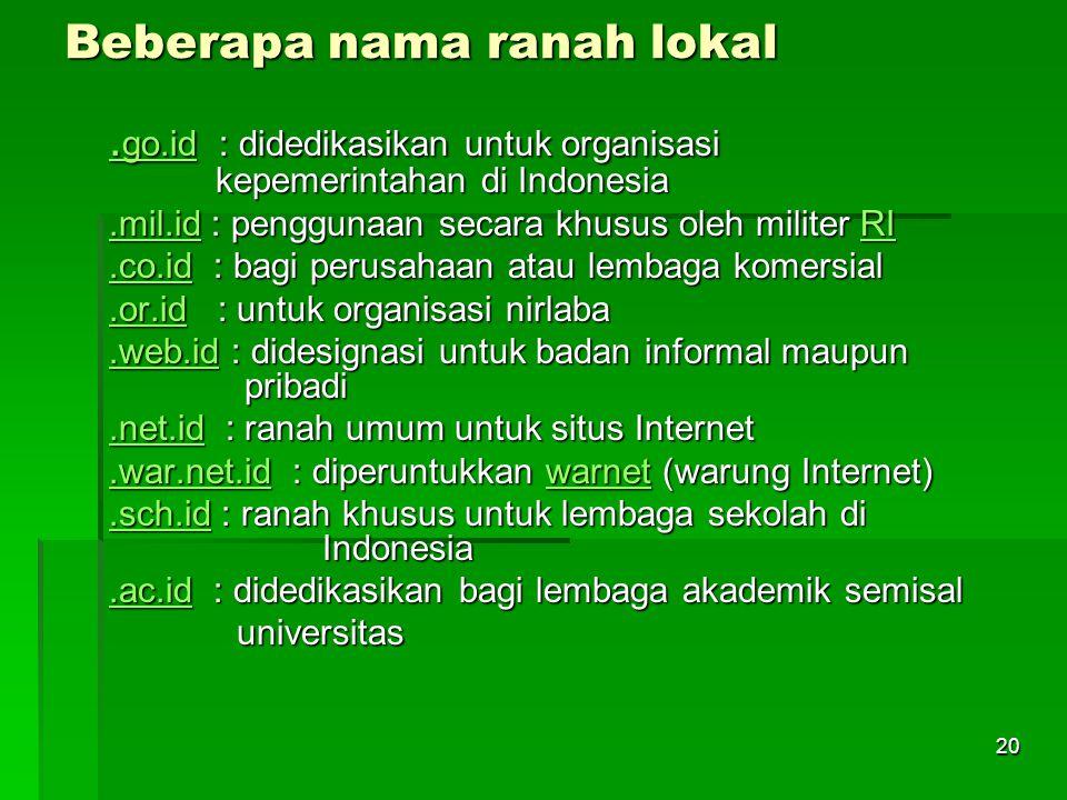 Beberapa nama ranah lokal. go.id. go.id : didedikasikan untuk organisasi kepemerintahan di Indonesia. go.id.mil.id.mil.id : penggunaan secara khusus o