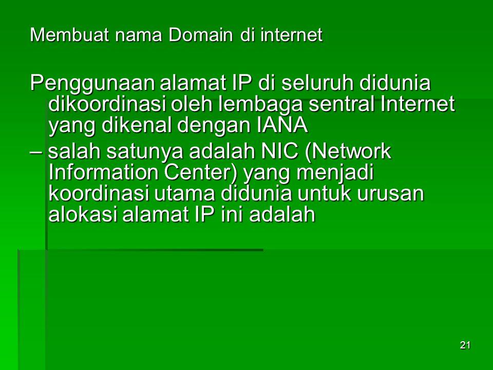 Membuat nama Domain di internet Penggunaan alamat IP di seluruh didunia dikoordinasi oleh lembaga sentral Internet yang dikenal dengan IANA – salah sa