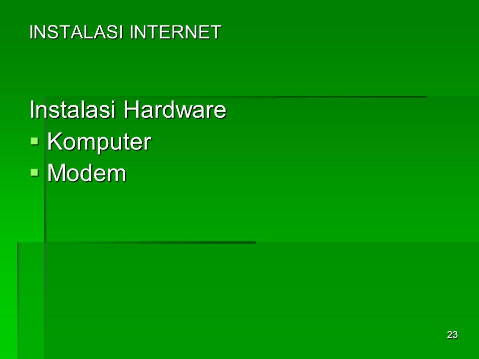 INSTALASI INTERNET Instalasi Hardware  Komputer  Modem 23