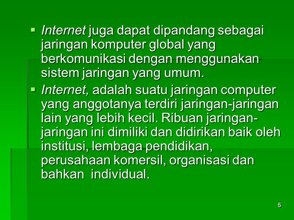 Sejarah Internet  Sebelum Internet ada, ARPAnet (US Defense Advanced Research Projects Agency)  atau Departemen Pertahanan Amerika pada tahun 1969 membuat jaringan komputer yang tersebar untuk menghindarkan terjadinya informasi terpusat, yang apabila terjadi perang dapat mudah dihancurkan.