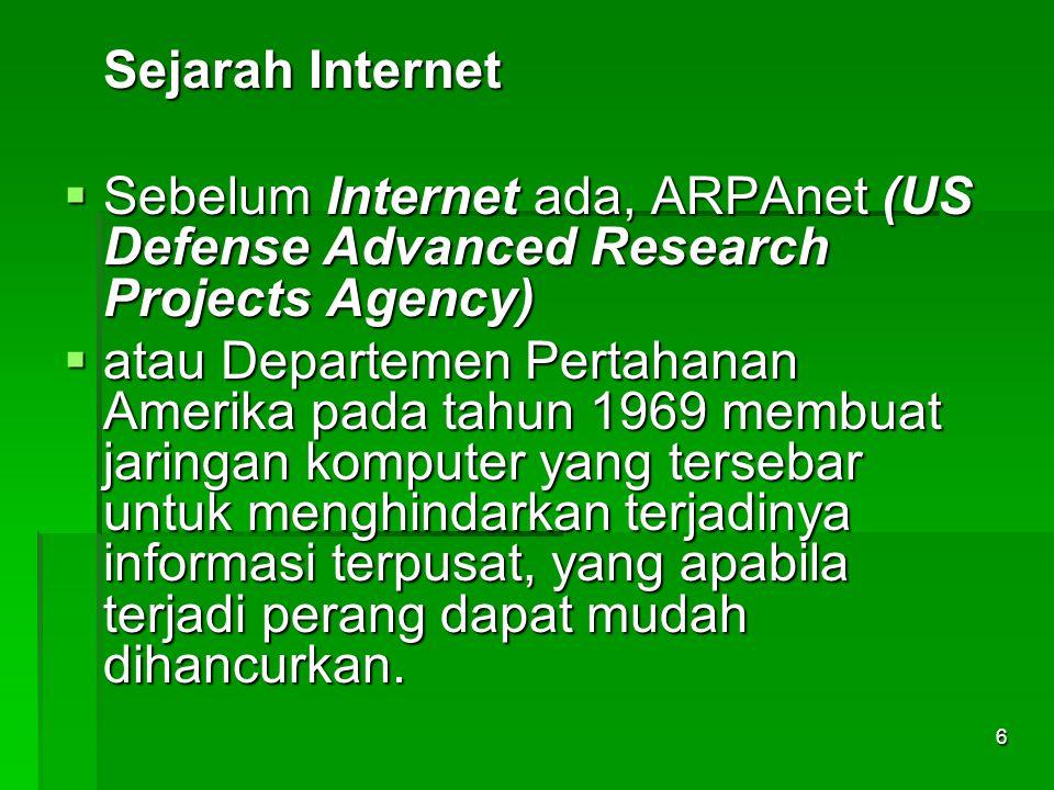 Sejarah Internet  Sebelum Internet ada, ARPAnet (US Defense Advanced Research Projects Agency)  atau Departemen Pertahanan Amerika pada tahun 1969 m
