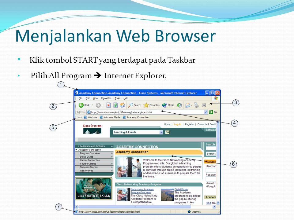 Menjalankan Web Browser • Klik tombol START yang terdapat pada Taskbar • Pilih All Program  Internet Explorer,
