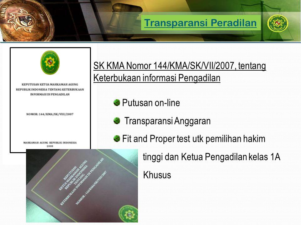 Transparansi Peradilan Putusan on-line Transparansi Anggaran Fit and Proper test utk pemilihan hakim tinggi dan Ketua Pengadilan kelas 1A Khusus SK KM
