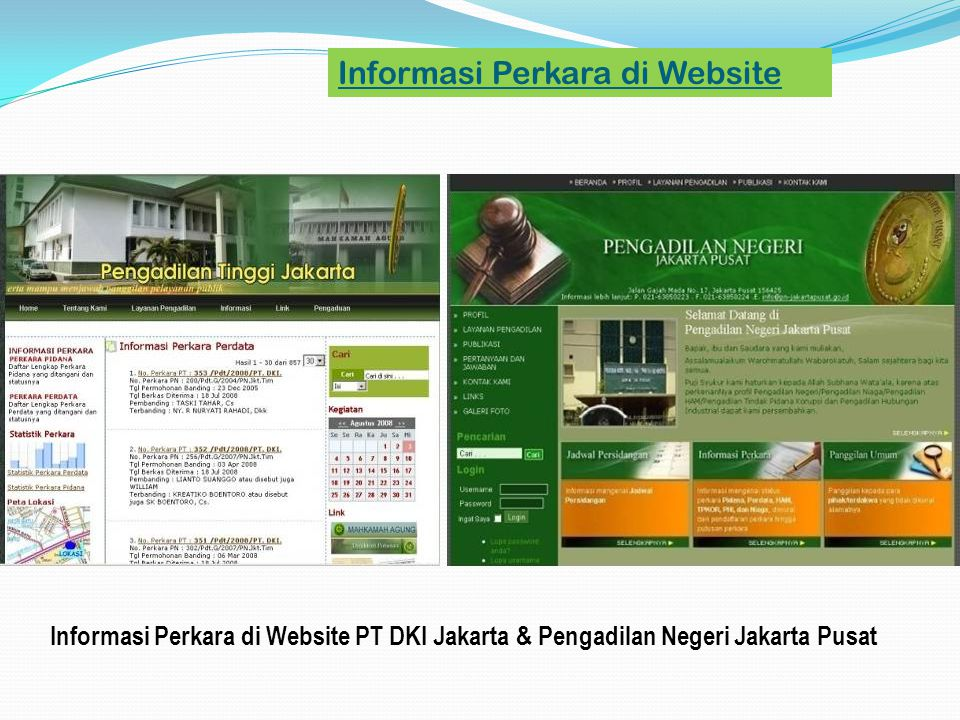 Informasi Perkara di Website PT DKI Jakarta & Pengadilan Negeri Jakarta Pusat Informasi Perkara di Website