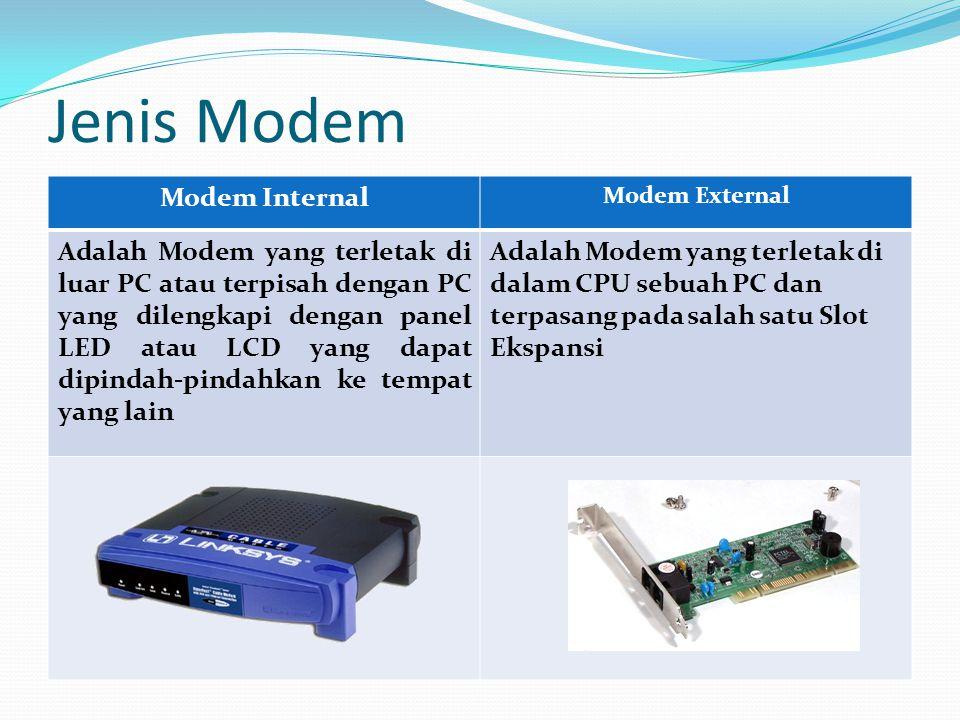 Jenis Modem Modem Internal Modem External Adalah Modem yang terletak di luar PC atau terpisah dengan PC yang dilengkapi dengan panel LED atau LCD yang