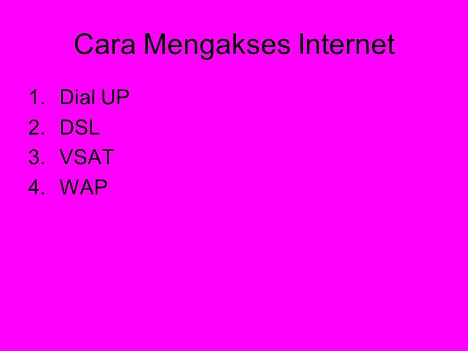 1.Dial up •Merupakan akses internet yang menggunakan sambungan telepon sebagai jaringan penghubung dengan Internet Service Provider (ISP) Internet Service Provider(ISP) •Kecepatan Modem dial up berkisar 14,4 Kbps hingga 56 Kbps •Komponen yang digunakan dibutuhkan adalah PC, line telepon dan Modem