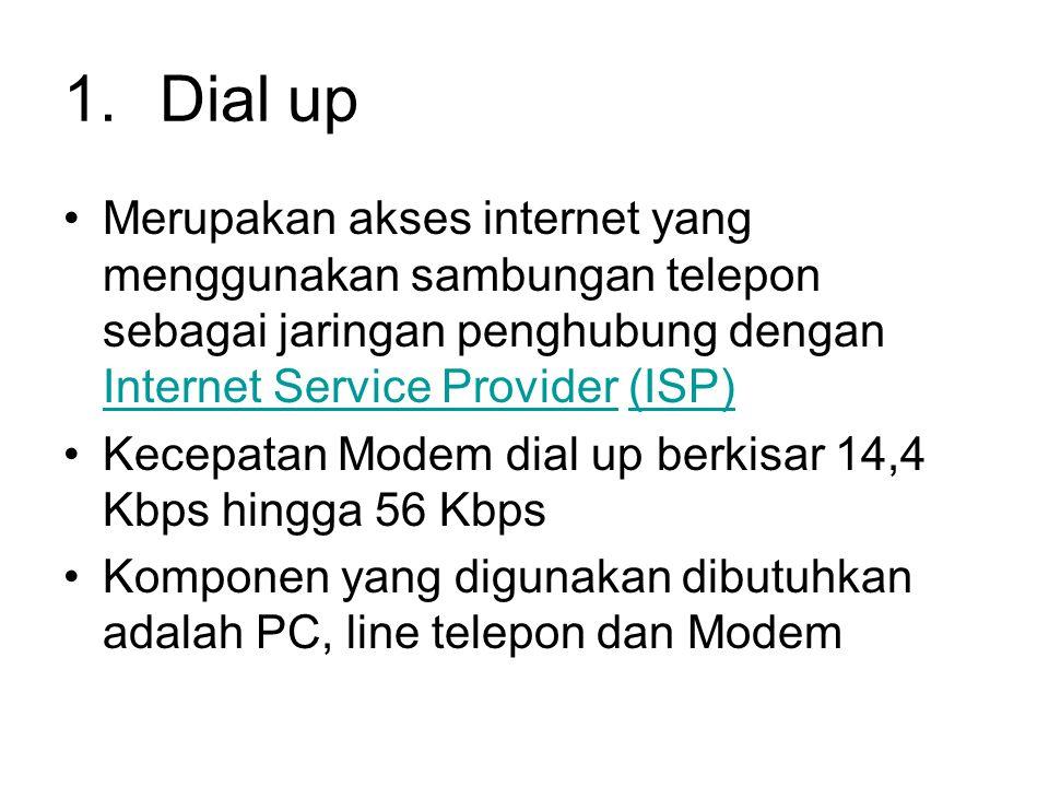 1.Dial up •Merupakan akses internet yang menggunakan sambungan telepon sebagai jaringan penghubung dengan Internet Service Provider (ISP) Internet Ser