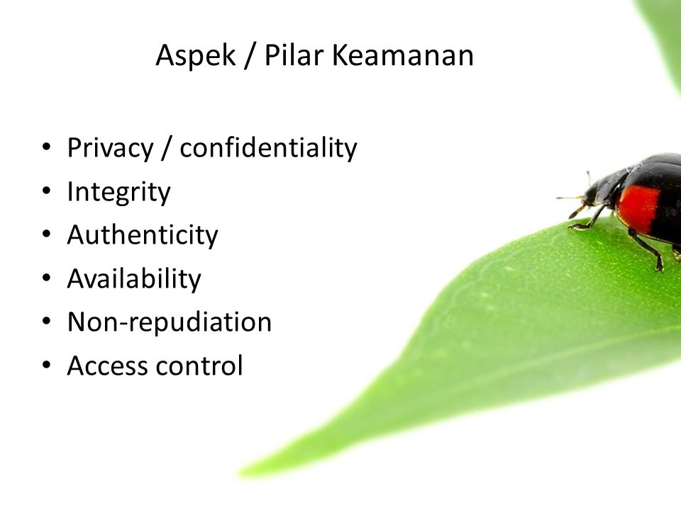 • Privacy / confidentiality • Integrity • Authenticity • Availability • Non-repudiation • Access control Aspek / Pilar Keamanan
