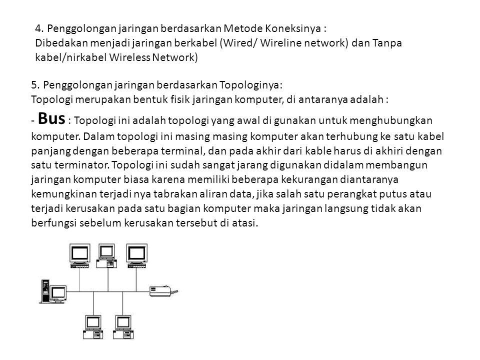 4. Penggolongan jaringan berdasarkan Metode Koneksinya : Dibedakan menjadi jaringan berkabel (Wired/ Wireline network) dan Tanpa kabel/nirkabel Wirele