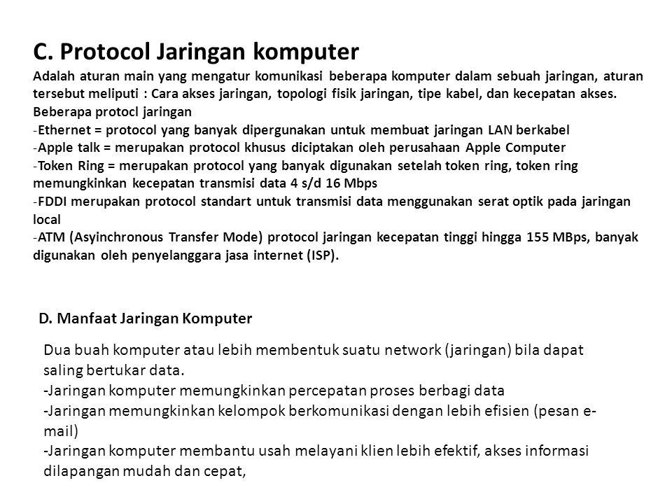 C. Protocol Jaringan komputer Adalah aturan main yang mengatur komunikasi beberapa komputer dalam sebuah jaringan, aturan tersebut meliputi : Cara aks