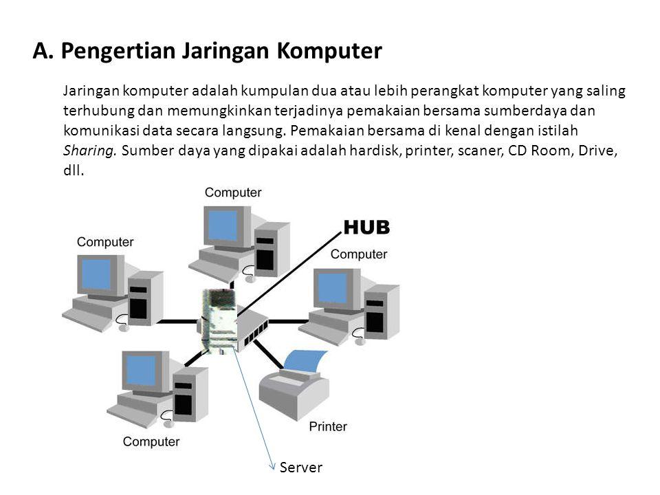 A. Pengertian Jaringan Komputer Jaringan komputer adalah kumpulan dua atau lebih perangkat komputer yang saling terhubung dan memungkinkan terjadinya