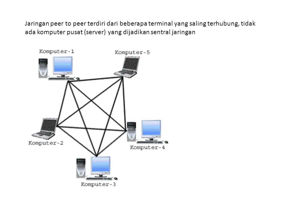 Jaringan peer to peer terdiri dari beberapa terminal yang saling terhubung, tidak ada komputer pusat (server) yang dijadikan sentral jaringan