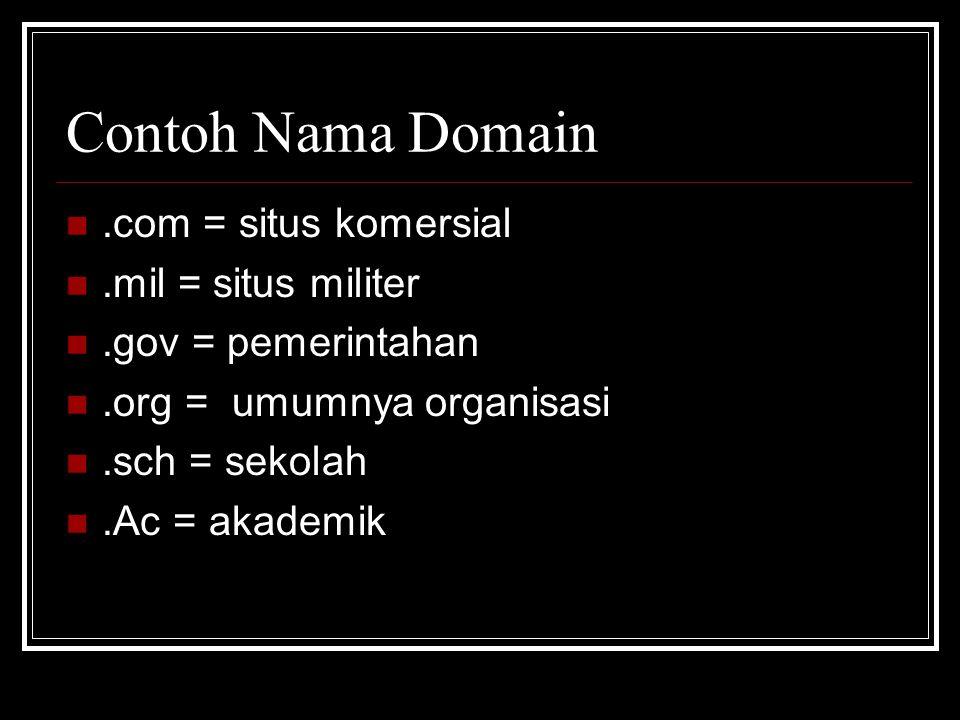Contoh Nama Domain .com = situs komersial .mil = situs militer .gov = pemerintahan .org = umumnya organisasi .sch = sekolah .Ac = akademik