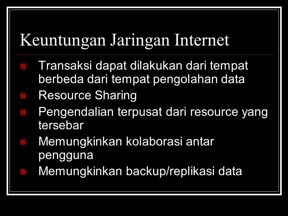 Keuntungan Jaringan Internet  Transaksi dapat dilakukan dari tempat berbeda dari tempat pengolahan data  Resource Sharing  Pengendalian terpusat dari resource yang tersebar  Memungkinkan kolaborasi antar pengguna  Memungkinkan backup/replikasi data