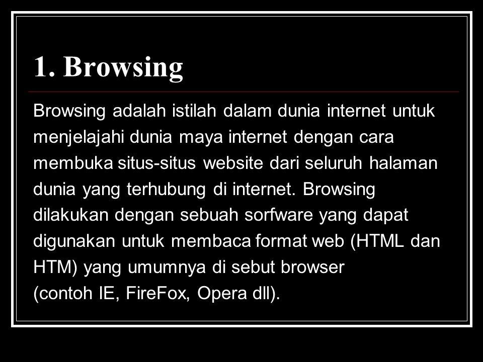 1. Browsing Browsing adalah istilah dalam dunia internet untuk menjelajahi dunia maya internet dengan cara membuka situs-situs website dari seluruh ha