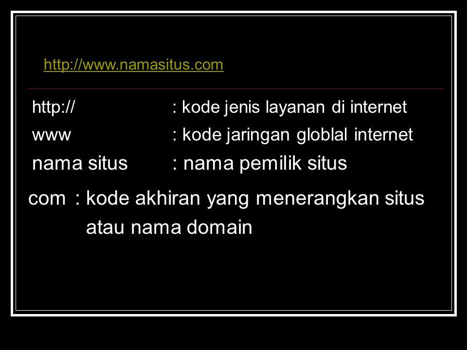 http://: kode jenis layanan di internet www: kode jaringan globlal internet nama situs: nama pemilik situs com: kode akhiran yang menerangkan situs at