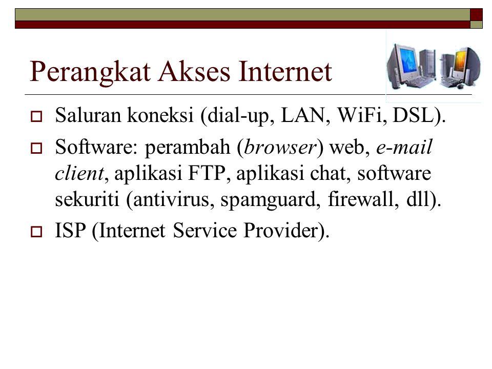 Perangkat Akses Internet  Saluran koneksi (dial-up, LAN, WiFi, DSL).