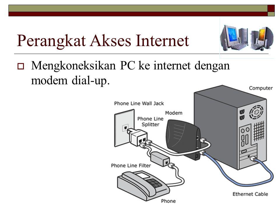 Perangkat Akses Internet  Mengkoneksikan PC ke internet dengan modem dial-up.