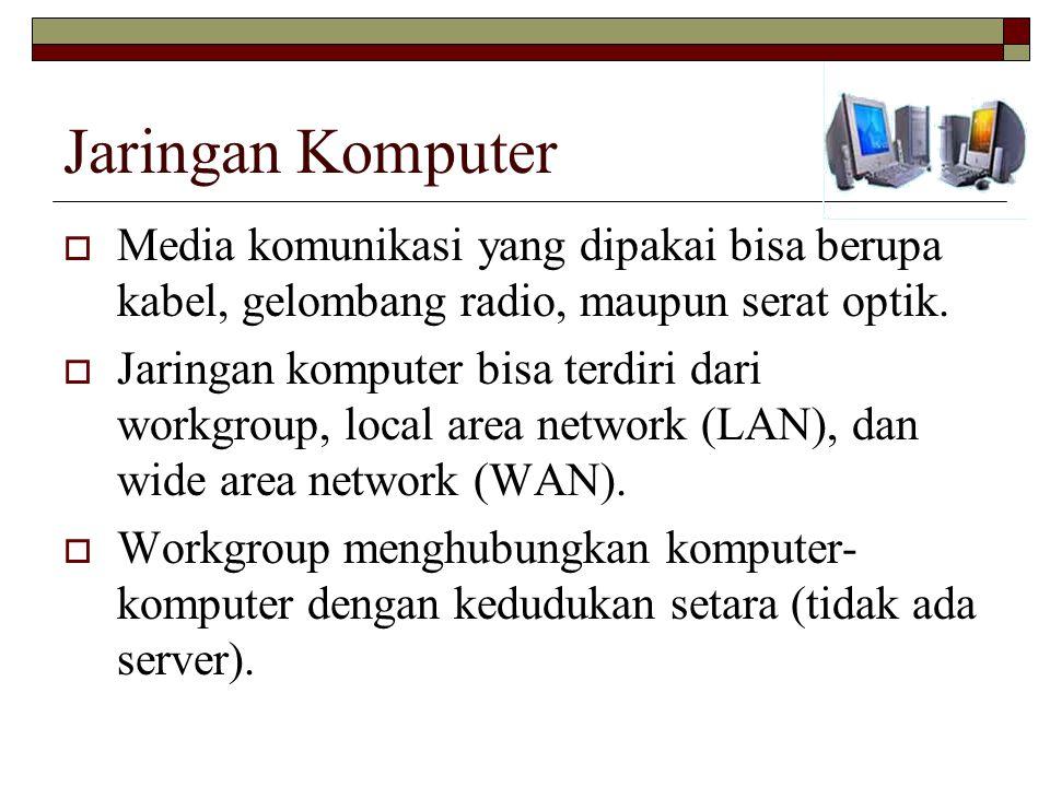 Jaringan Komputer  Media komunikasi yang dipakai bisa berupa kabel, gelombang radio, maupun serat optik.