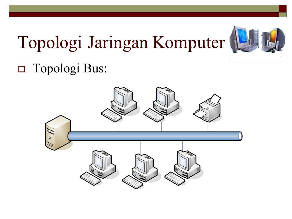 Topologi Jaringan Komputer  Topologi Bus: