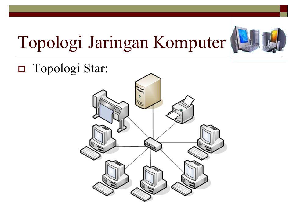 Topologi Jaringan Komputer  Topologi Star: