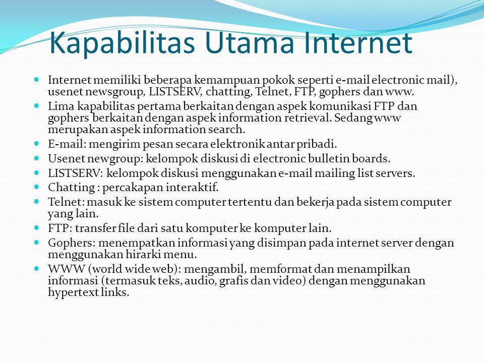 Keunggulan Internet  Konektivitas dan jangkauan global: di dunia maya, jaringan yang terjalin adalah jaringan global.