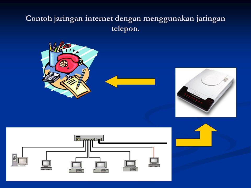 Contoh jaringan internet dengan menggunakan jaringan telepon.