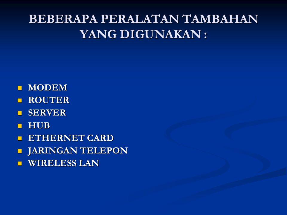 BEBERAPA PERALATAN TAMBAHAN YANG DIGUNAKAN :  MODEM  ROUTER  SERVER  HUB  ETHERNET CARD  JARINGAN TELEPON  WIRELESS LAN