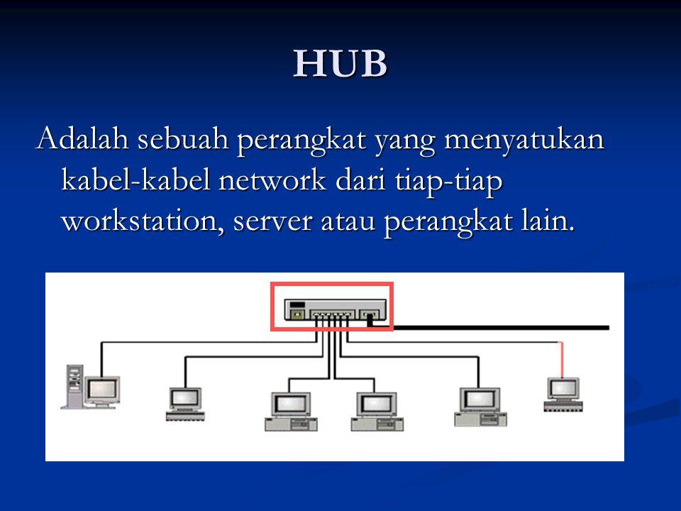 HUB Adalah sebuah perangkat yang menyatukan kabel-kabel network dari tiap-tiap workstation, server atau perangkat lain.