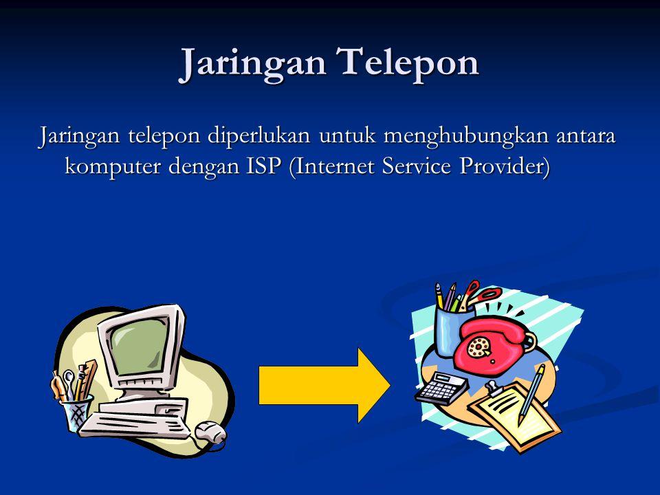 Jaringan Telepon Jaringan telepon diperlukan untuk menghubungkan antara komputer dengan ISP (Internet Service Provider)