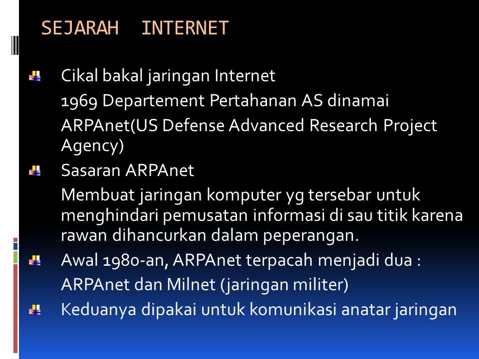 SEJARAH INTERNET Cikal bakal jaringan Internet 1969 Departement Pertahanan AS dinamai ARPAnet(US Defense Advanced Research Project Agency) Sasaran ARP