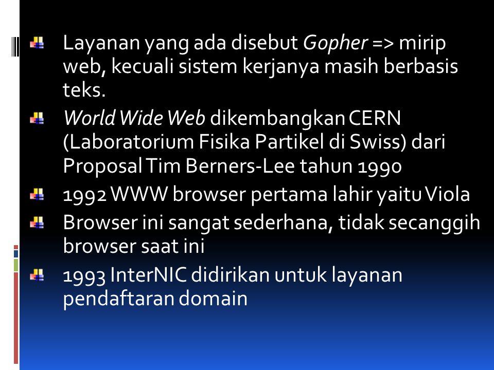 Layanan yang ada disebut Gopher => mirip web, kecuali sistem kerjanya masih berbasis teks. World Wide Web dikembangkan CERN (Laboratorium Fisika Parti