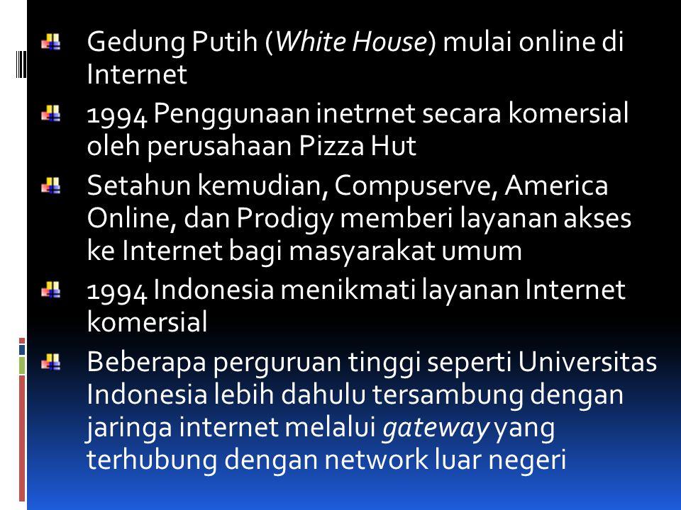 Gedung Putih (White House) mulai online di Internet 1994 Penggunaan inetrnet secara komersial oleh perusahaan Pizza Hut Setahun kemudian, Compuserve,
