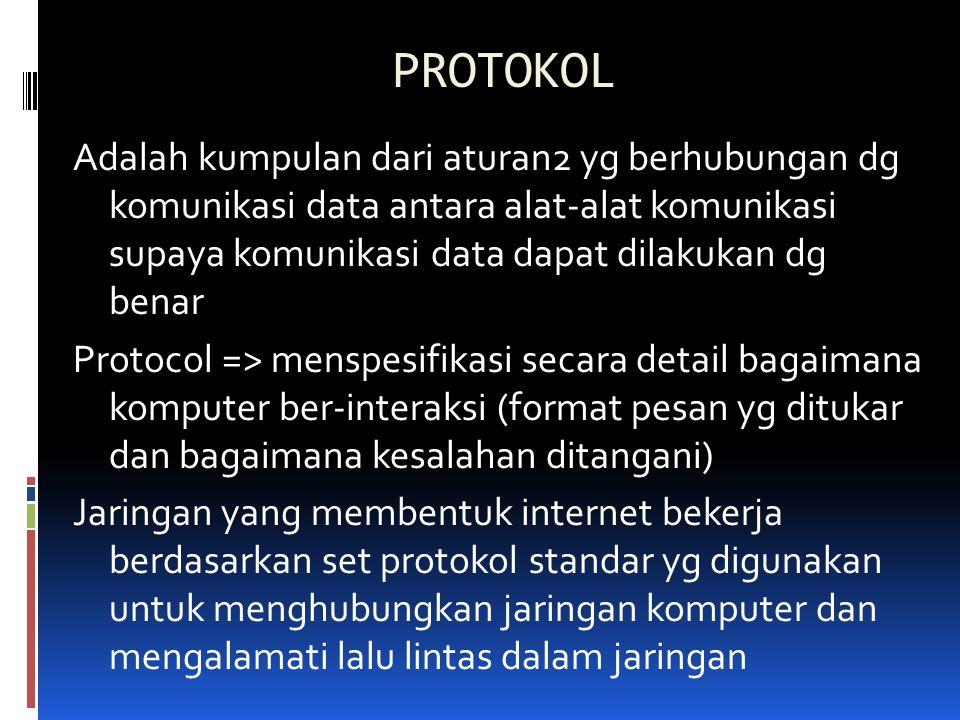 PROTOKOL Adalah kumpulan dari aturan2 yg berhubungan dg komunikasi data antara alat-alat komunikasi supaya komunikasi data dapat dilakukan dg benar Pr