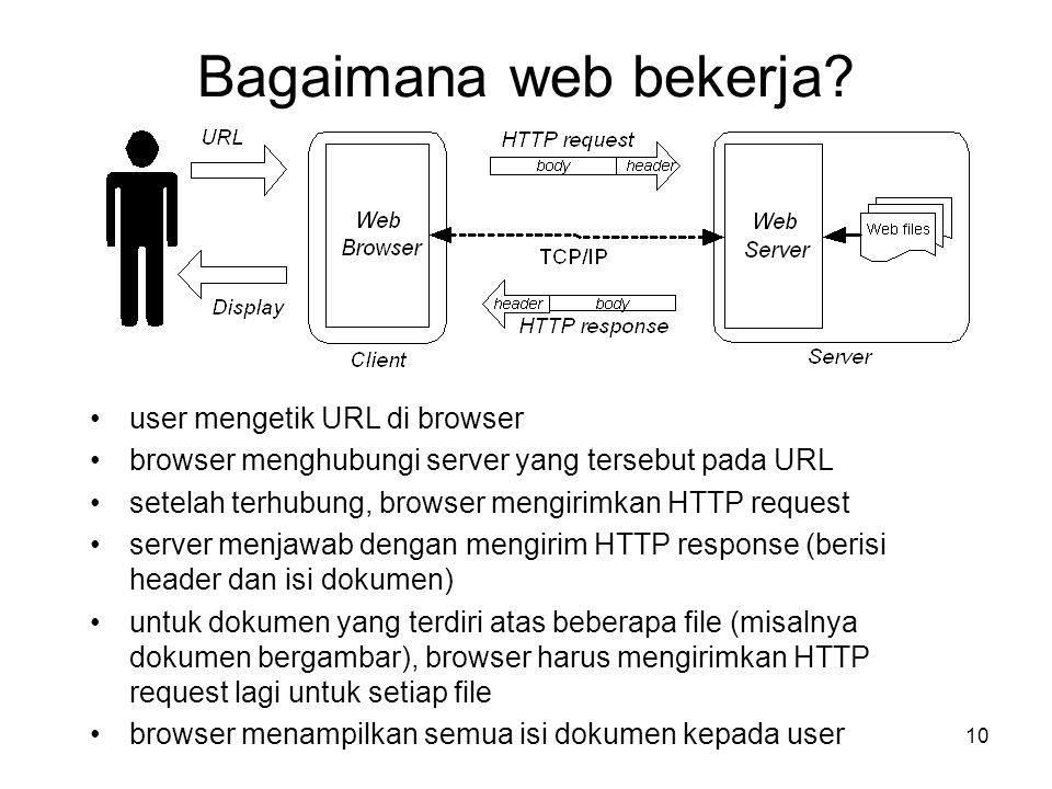 10 Bagaimana web bekerja? •user mengetik URL di browser •browser menghubungi server yang tersebut pada URL •setelah terhubung, browser mengirimkan HTT